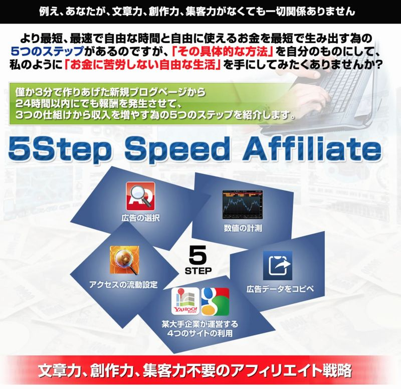 PPCアフィリエイトで稼ぐ方法5step speed affiliete