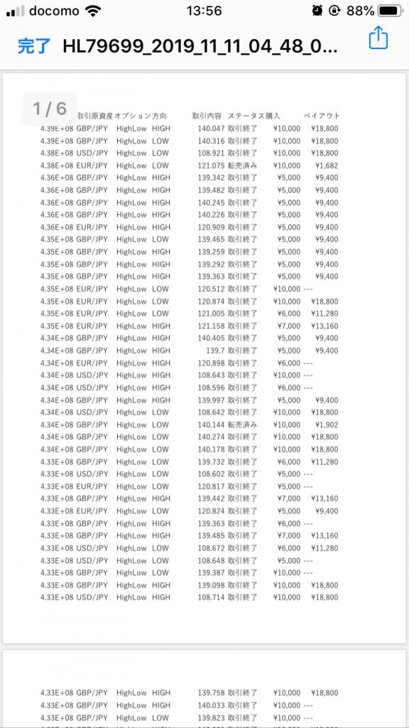 バイナリーオプション自動売買ツールCash Rich(キャッシュリッチ)2019年10月実績1